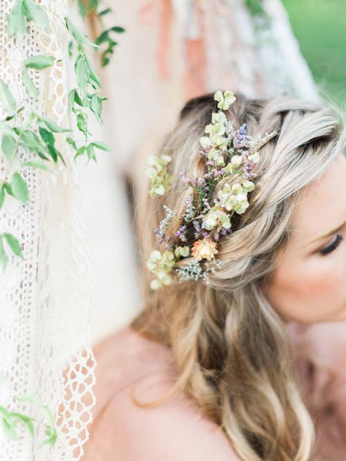 flowers and hair and wedding