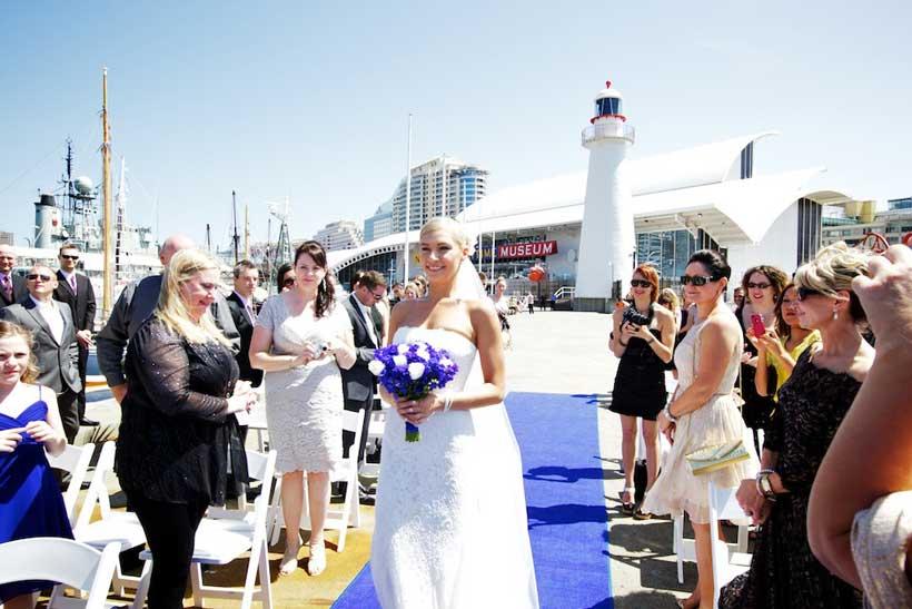 Bride walking down aisle-blue