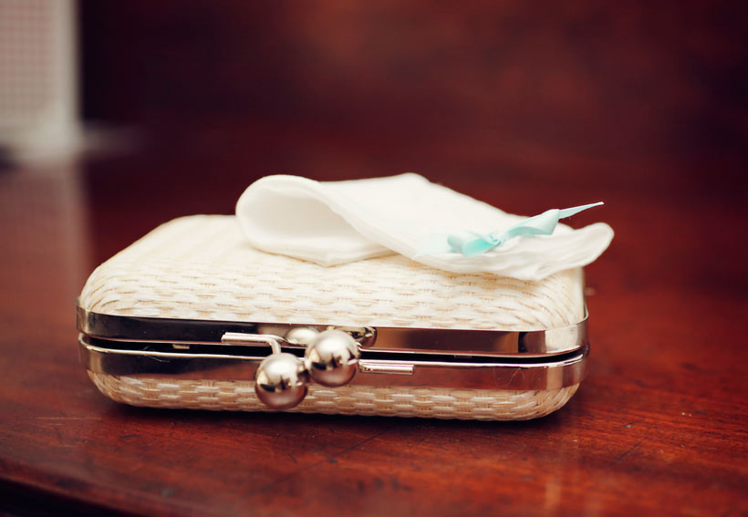 White bridal bag