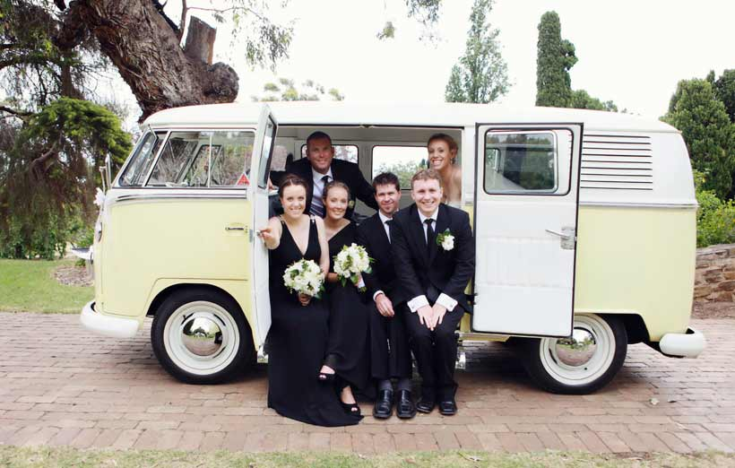 Bridal party in the combi van