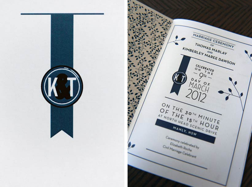 Blue and black DIY wedding invitations