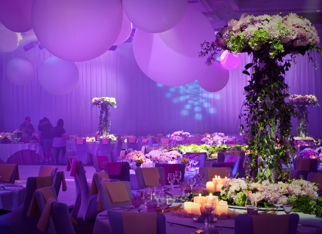 Pink and purple wedding reception