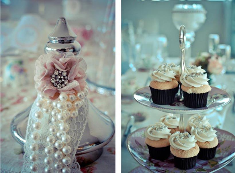 Dessert Buffet Detail - Pretty Little Vintage Bridal Shower