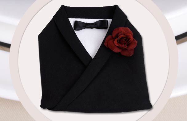 Wedding DIY - Tuxedo Napkin Fold - Modern Wedding