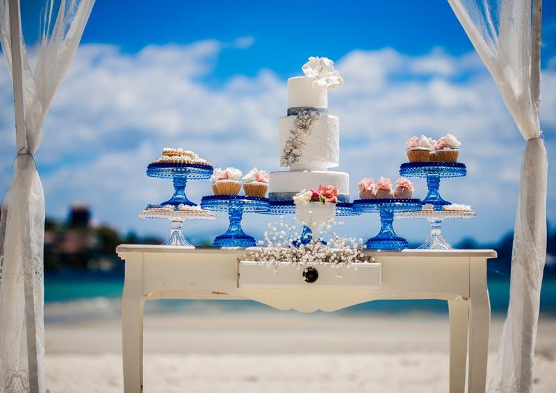 Dessert bar in a glitter theme wedding