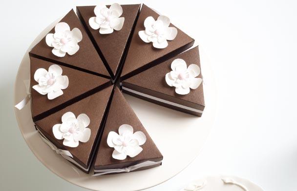 cake slice box diy modern wedding. Black Bedroom Furniture Sets. Home Design Ideas