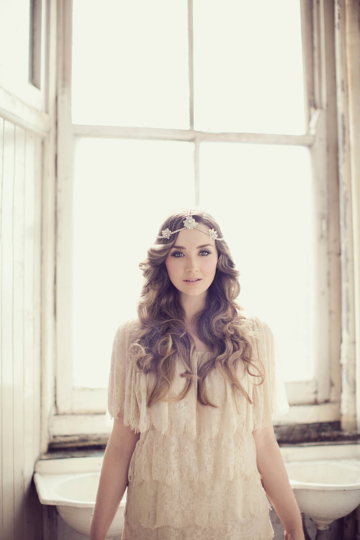 Bohemian inspired crystal flower headpiece bespoke millinery by Viktoria Novak