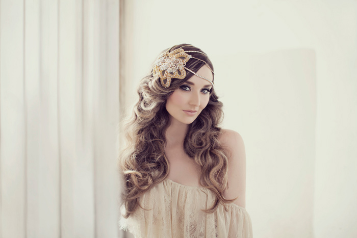 Rich gold beaded bespoke headpiece