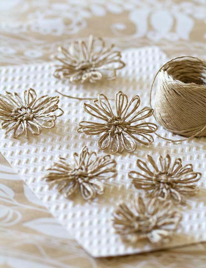 diy twine flowers. Black Bedroom Furniture Sets. Home Design Ideas