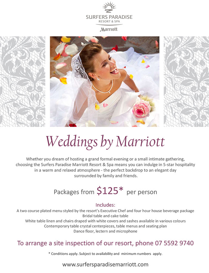 Surfers Paradise Marriott Resort & Spa Wedding Special 2014