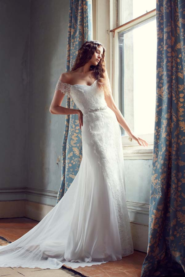 Off the shoulder wedding dress by Karen Willis Holmes