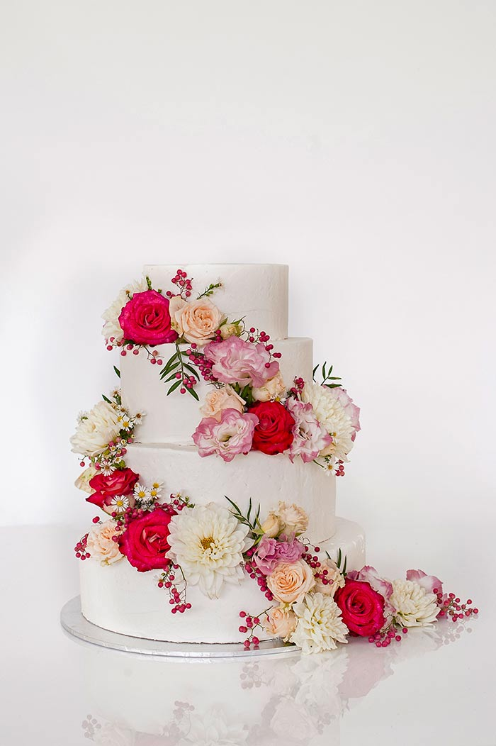 20 Pretty Floral Wedding Cakes - Reignier Cakes and Lee Bird Photography - Pink Floral Wedding Cake