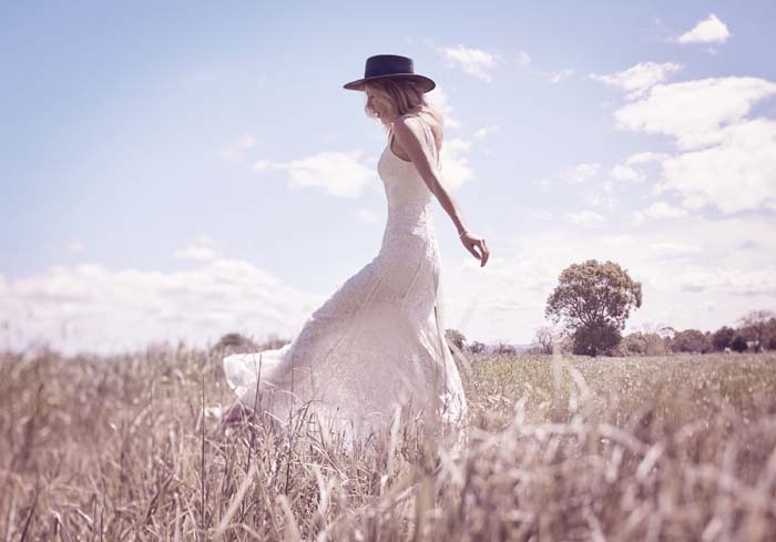 Fame And Partners White Boho Bridesmaid Gown