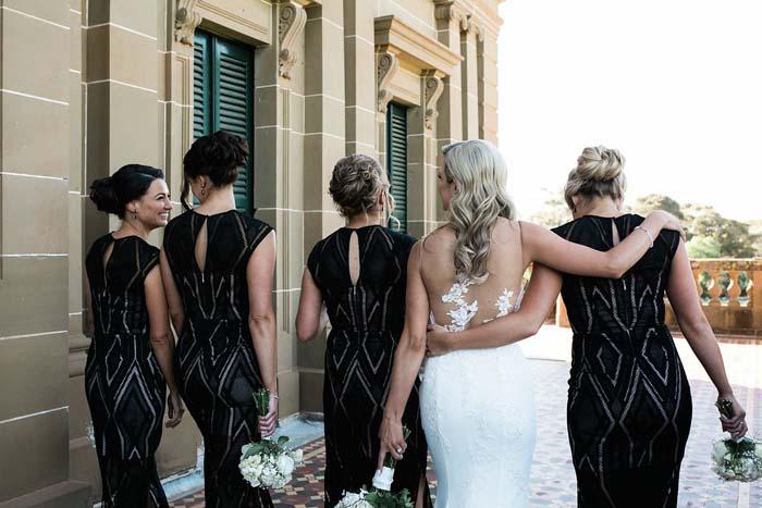 elegant real wedding bridesmaids
