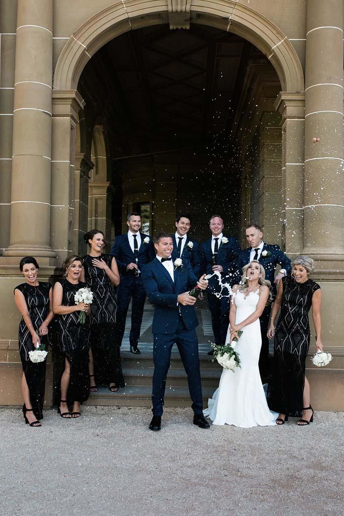 elegant real wedding champagne