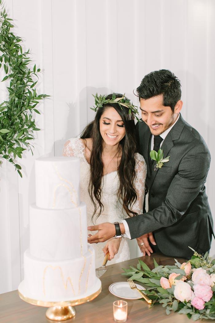 Ethereal Real Wedding Cake Cutting