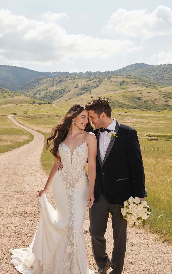 Martina liana lace wedding dress with plunging neckline