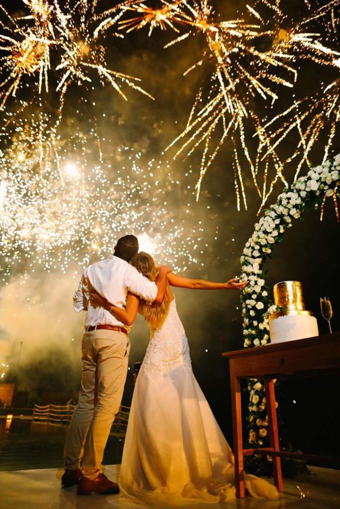 firework finish on wedding day