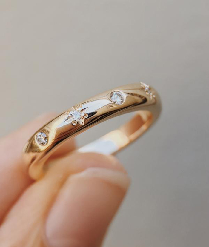 Simple Wedding Bands - Moon and Stars Ring