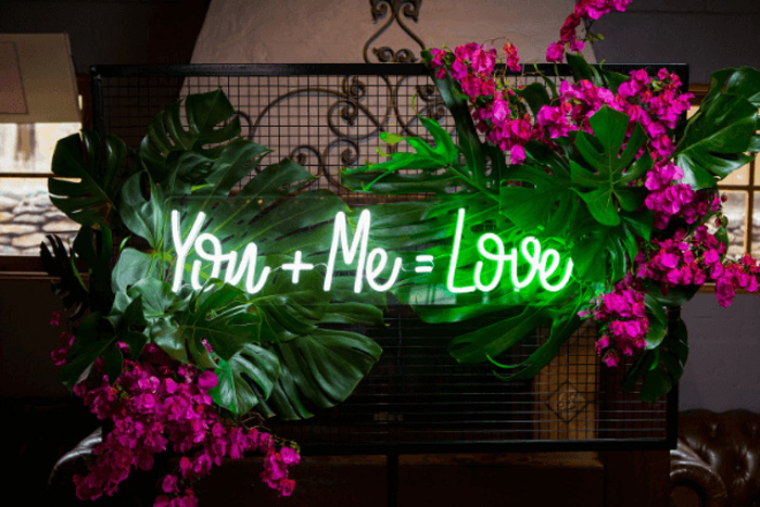 Creative Couple Wedding Signs and One-Liners, Neon Wedding Sign 7