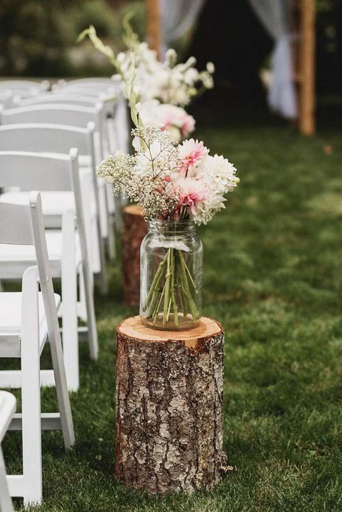 mason jars to style wedding aisle
