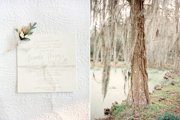 White garden wedding details